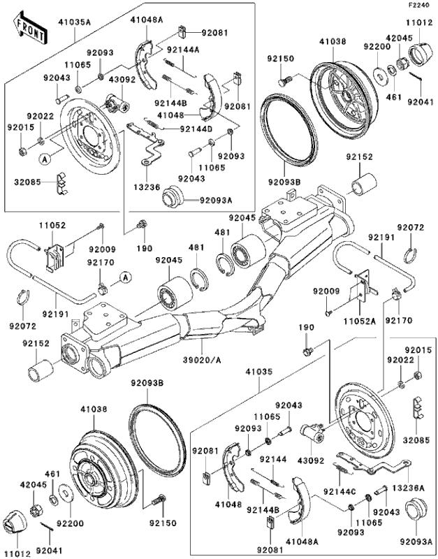 powersports kawasaki - kaf950  mule 3010 diesel  2005  brakes